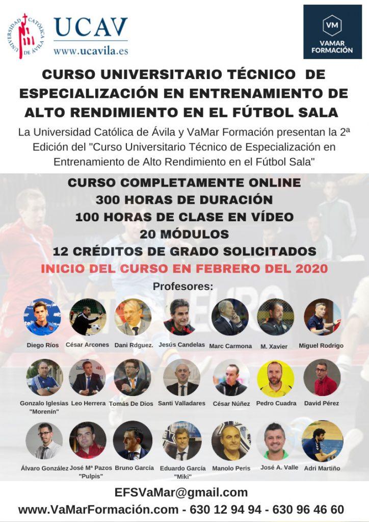 Curso Técnico Universitario de Especialización en el Entrenamiento de Alto Rendimiento de Fútbol Sala