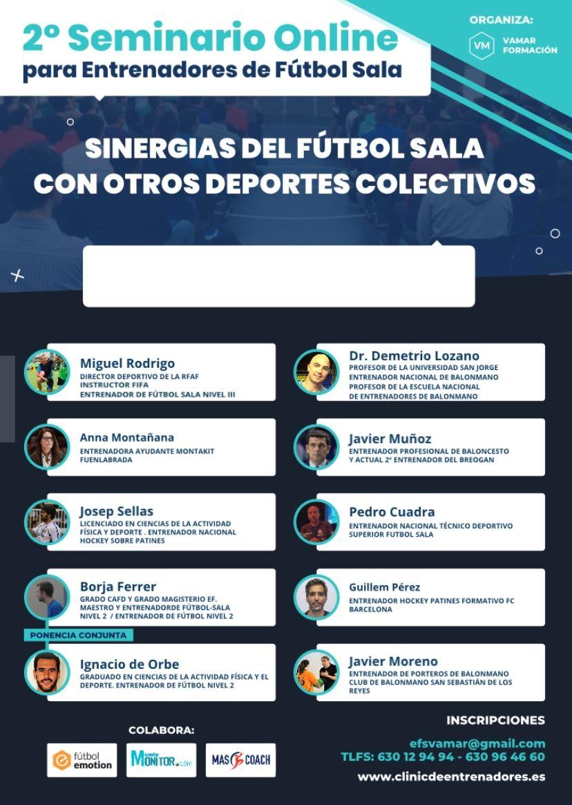 """2º Seminario Online para Entrenadores de Fútbol Sala: """"Sinergias del Fútbol Sala con Otros Deportes Colectivos"""" Versión Online. Edición 2020"""
