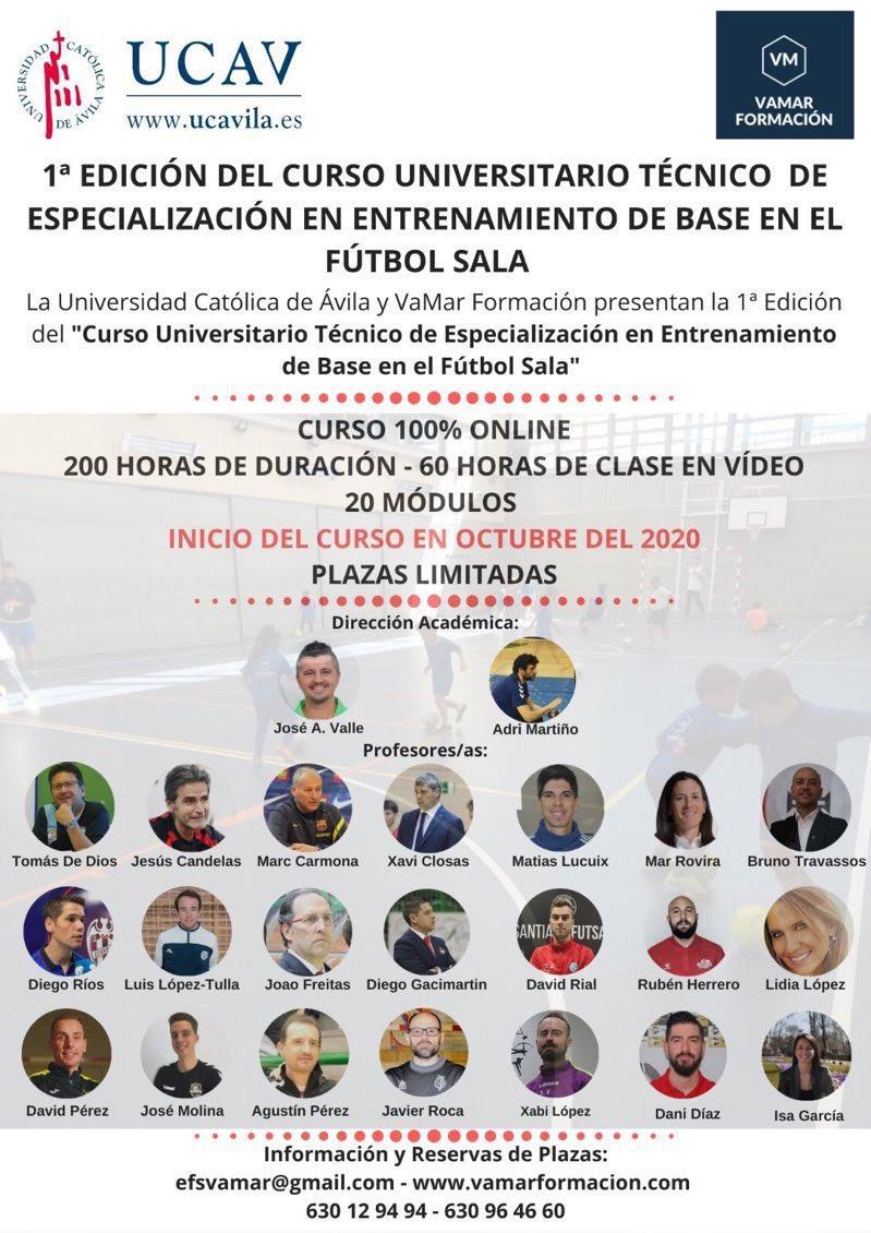 1ª EDICIÓN DEL CURSO UNIVERSITARIO TÉCNICO DE ESPECIALIZACIÓN EN ENTRENAMIENTO DE BASE DE FÚTBOL SALA